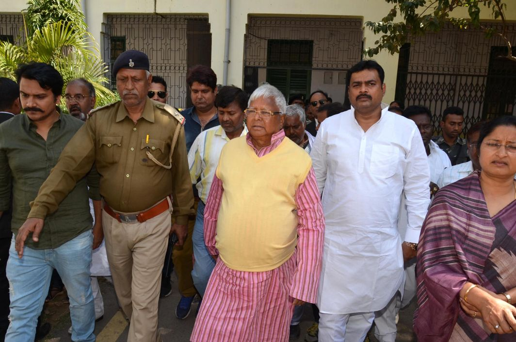 FODDER KING: Former Bihar Chief Minister and RJD supremo Lalu Prasad Yadav arrives to appear before the special court in connection with the multi-crore fodder scam case, in Ranchi, UNI