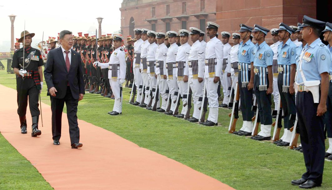 MARTIAL QUALITIES: Defence minister of Mongolia Enkhbold Nyamaa inspects the Tri-Services Guard of Honour at South Block lawns in New Delhi, UNI