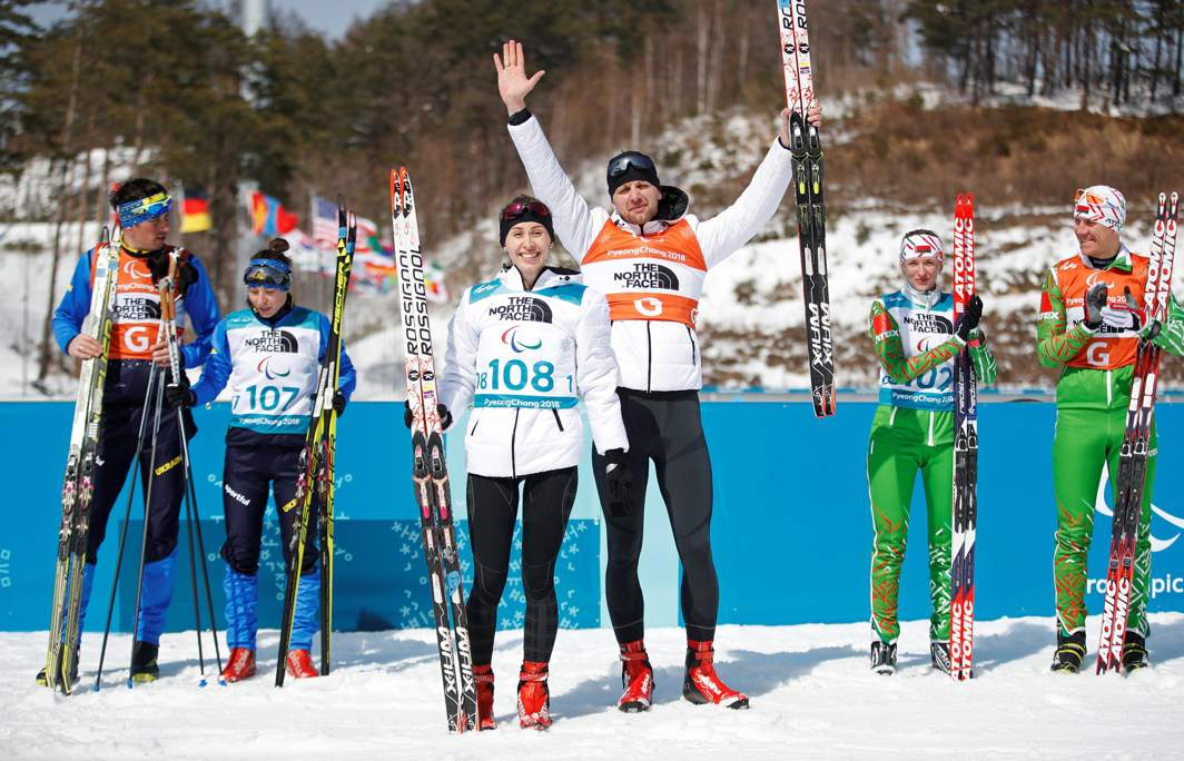 BLIND FAITH: Gold medallist Ekaterina Moshkovskaia (108), a paralympic athlete from Russia, silver medallist Oksana Shyshkova (107) of Ukraine and bronze medallist Sviatlana Sakhanenka (102) of Belarus at the end of the women's 6km for visually impaired at Alpensia Biathlon Centre, Pyeongchang, South Korea, during the Pyeongchang 2018 Winter Paralympics, Reuters/UNI