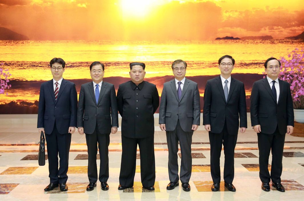 BRINK OF HISTORY: North Korean leader Kim Jong Un poses for photographs with the South Korean delegation led by Chung Eui-yong, head of the presidential National Security Office, in Pyongyang, North Korea, The Presidential Blue House/Yonhap/Reuters/UNI