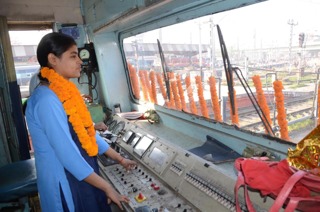 MS ENGINE DRIVER: Locomotive driver Tinki Kumari operating the Patna-Buxar local passenger train from Patna junction has been felicitated on the occasion of International Women's Day, in Patna, UNI