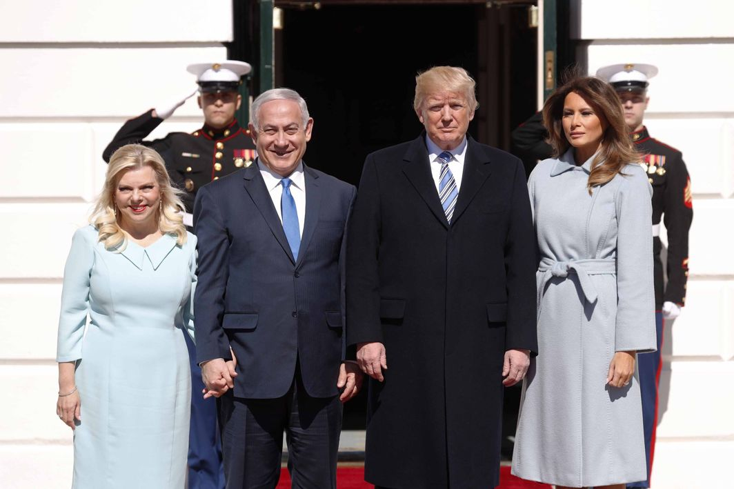 CAUSE FOR COMFORT: US President Donald Trump and first lady Melania Trump (right) welcome Israeli Prime Minister Benjamin Netanyahu and Mrs Netanyahu at the White House in Washington, US, Reuters/UNI