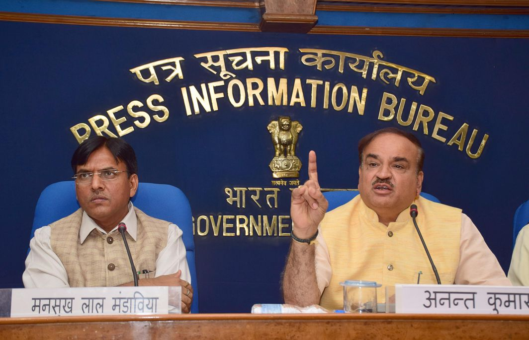 FINALLY, SOME ATTENTION: Union Minister for Chemicals and Fertilisers Ananth Kumar with MoS Mansukh L Mandaviya addresses a press conference prior to launch the low cost 100 percent Oxo- Biodegradable Sanitary Napkins 'Subhida' under the Pradhan Mantri Bharatiya Janaushadhi Pariyojana in New Delhi, UNI