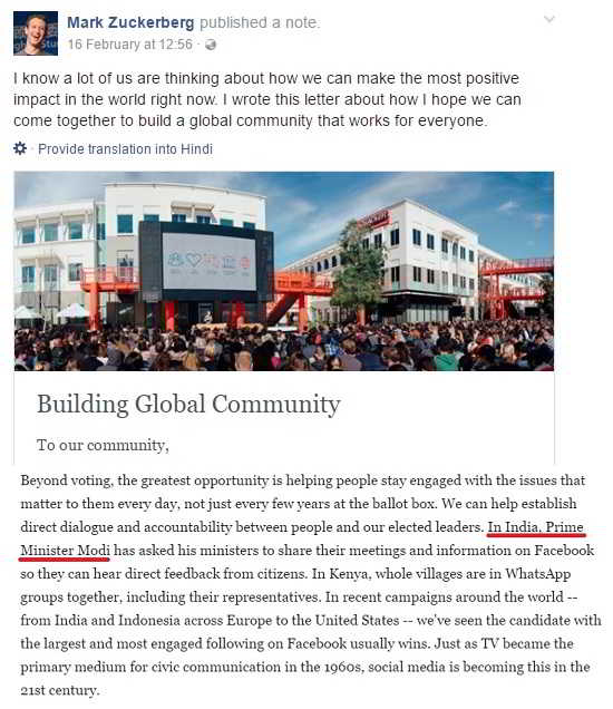 A note from Mark Zuckerberg on Building Global community
