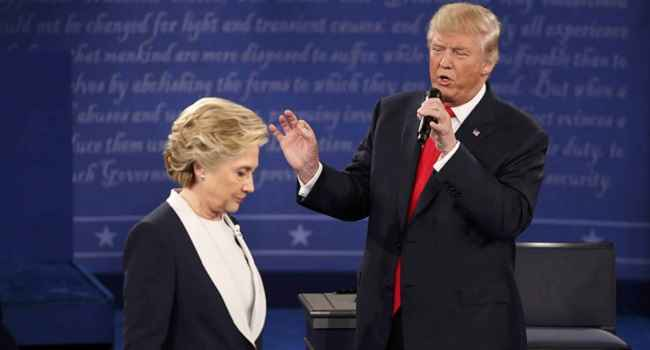 FACE OFF: A scene from one of the presidential debates between Donald Trump and Hillary Clinton
