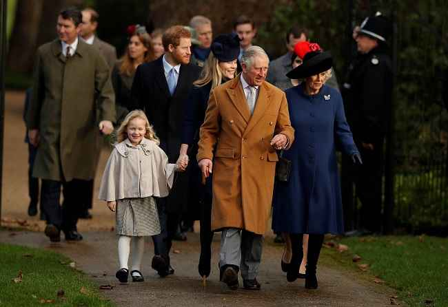SANDRINGHAM, DEC 25 :- Britain's Prince Charles and his wife Camilla lead members of the royal family as they arrive to attend the Christmas Day church service in Sandringham, Britain, December 25, 2016. REUTERS-13R
