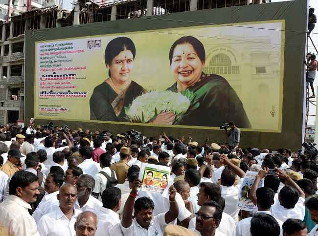 CHENNAI, DEC 29 (UNI):-A digital banner erected after 'Chinnamma' (V K Sasikala) elected as AIADMK General Secretary near AIADMK General Council Meeting venue, in Chennai on Thursday. UNI PHOTO-60U