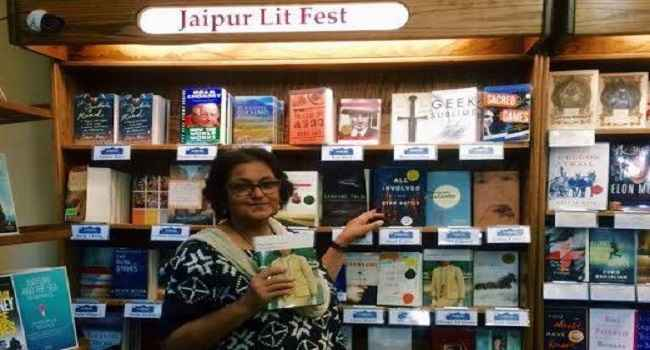 MAKING WAVES: Writer Namita Gokhale at the iconic Boulder Bookstore where the Jaipur Lit Fest bookshelf greets book lovers during the 2015 edition of the fest; courtesy Facebook