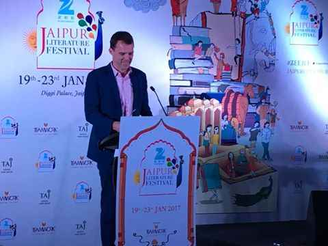 THUNDER DOWN UNDER: Acting Australian High Commissioner Chris Elstoft announces the collaboration between Melbourne Writers Festival and JLF in New Delhi; courtesy Facebook