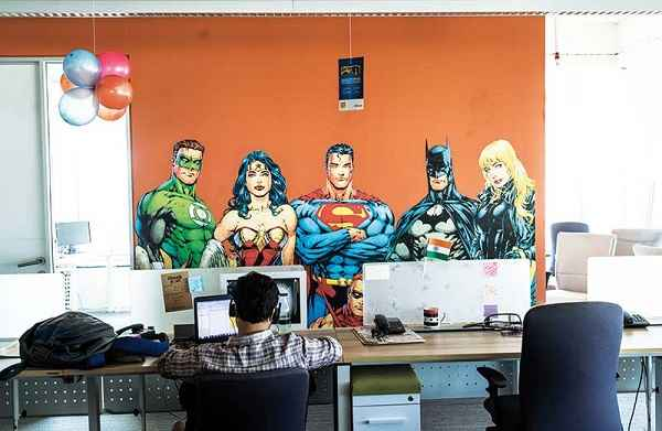 INCREDIBLE HULK: Superheroes adorn a wall at the digital arm of the Times Group, the country's largest media conglomerate