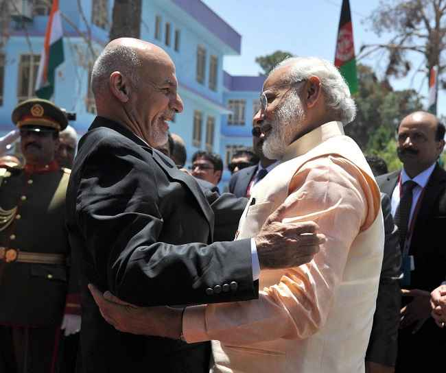 Prime Minister Narendra Modi is received by Afghan president Mohammad Ashraf Ghani in Herat