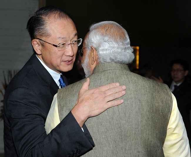 Modi with the president of World Bank, Jim Yong Kim