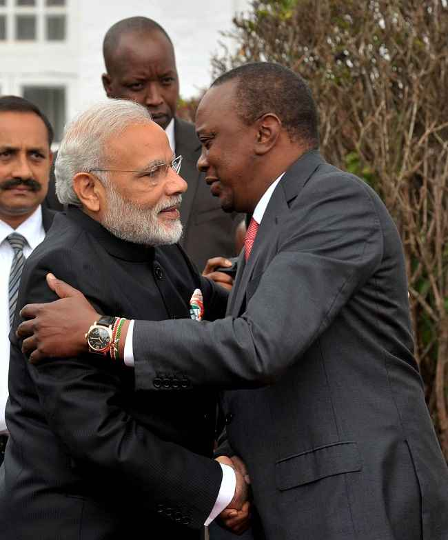 Modi is greeted by the president of Kenya