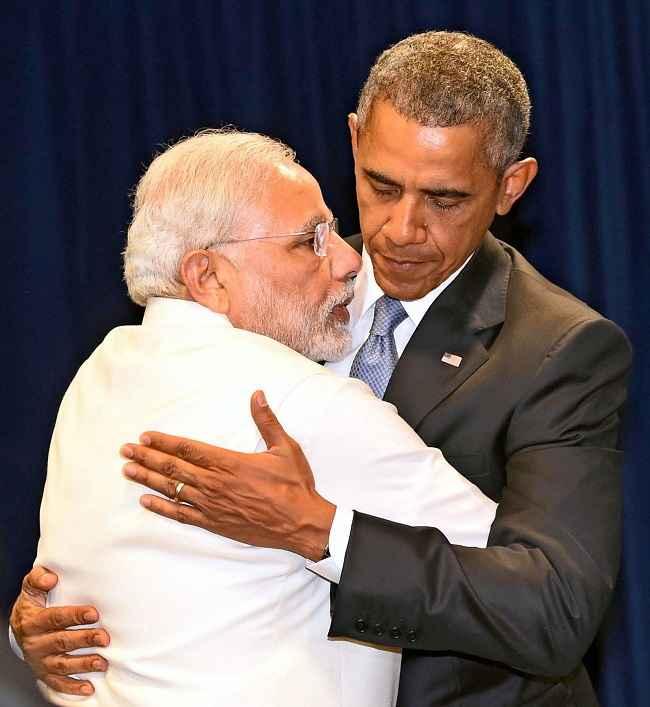 Modi hugs US president Barack Obama