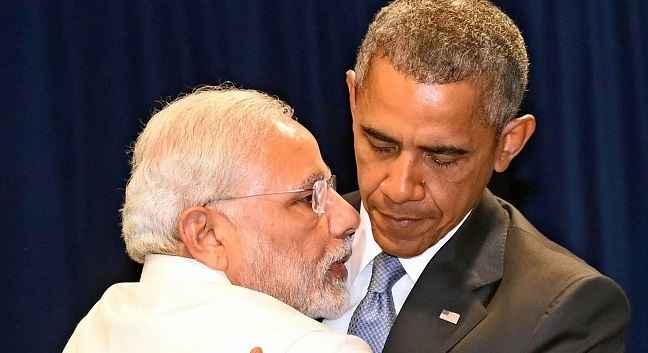 Modi hugs US president Barack Obama
