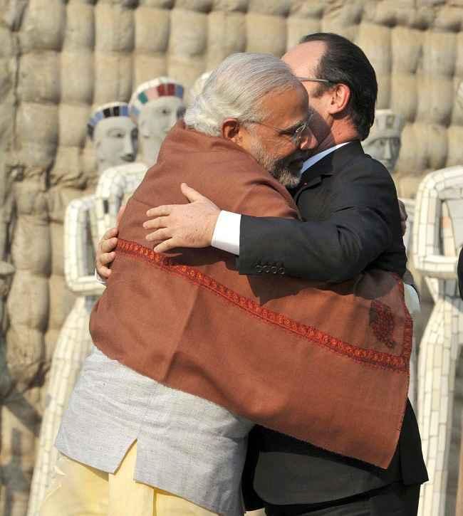Modi with president of France Francois Hollande